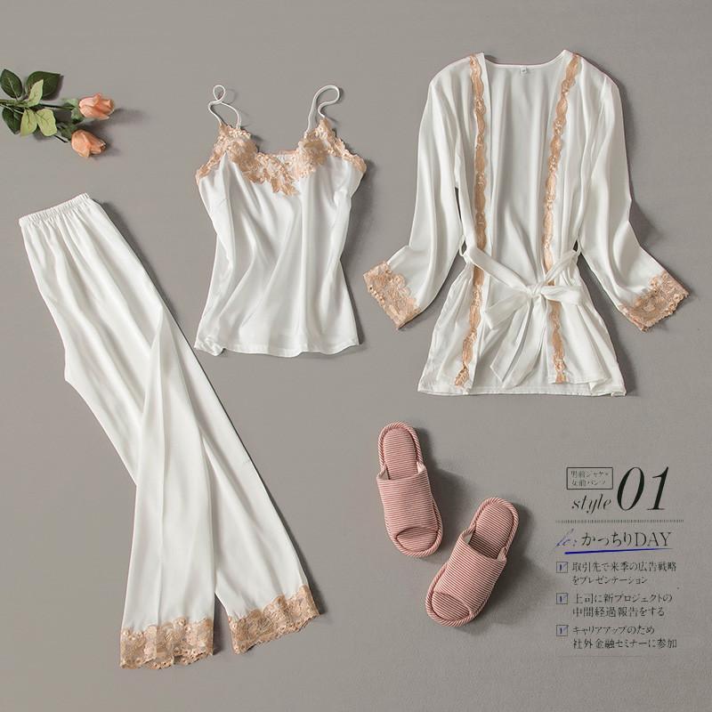 2019 de tres piezas pijamas de seda sexy de encaje conjunto robe honda pijamas de manga larga pantalones mujeres camisón boda ropa de dormir Y19051701