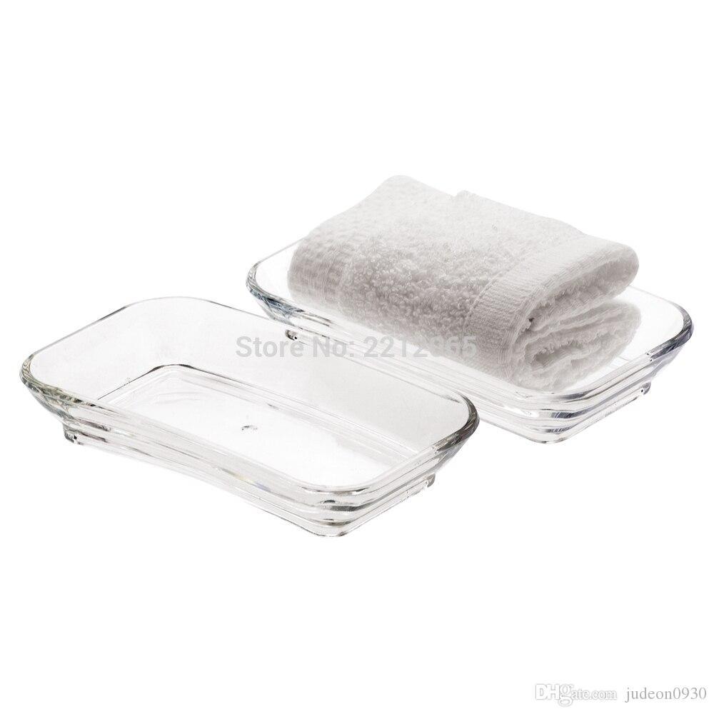 (2 pcs / paquet) plateau en plastique clair serviette en plastique, plateau de rangement en plastique pour sachets de thé pour salle de bains ou cuisine YAC008