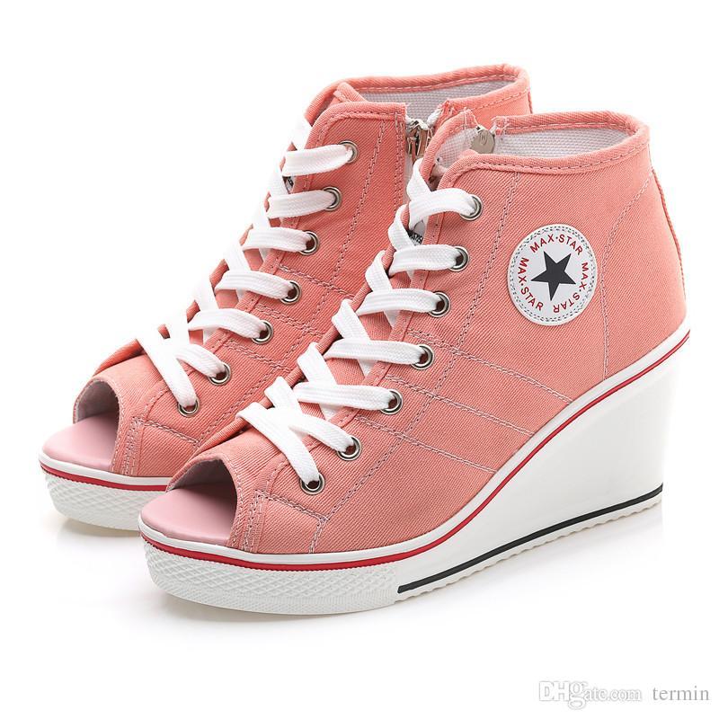 Nouvelles chaussures en toile montantes Les chaussures pour dames ont augmenté de 8cm, chaussures de sport à semelles épaisses et à semelle épaisse