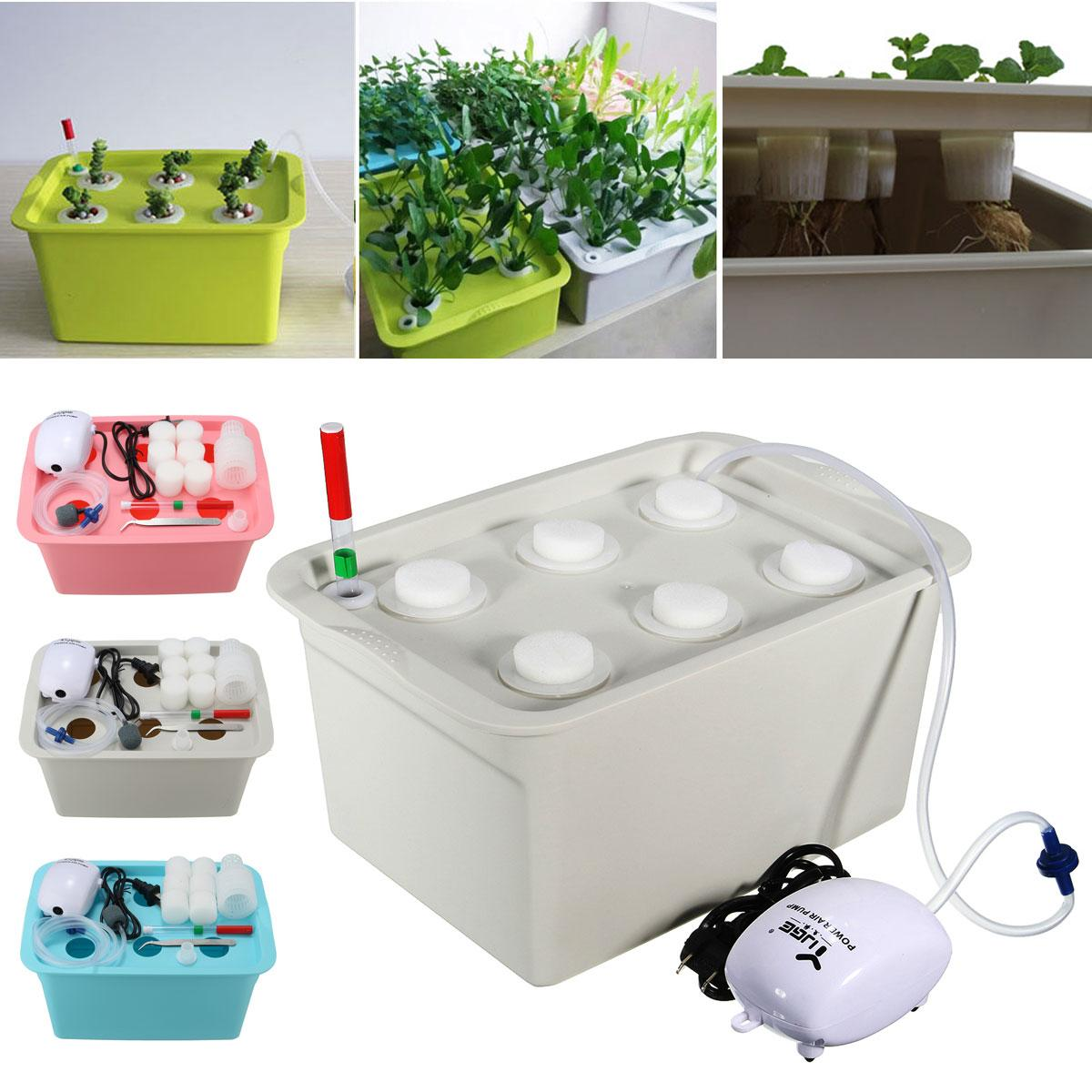 Plant Site Hydroponic Systems Kit 6 Holes Nursery Pots Soilless Cultivation Box Plants Seedling Grow Boxes Kits 220V/110V