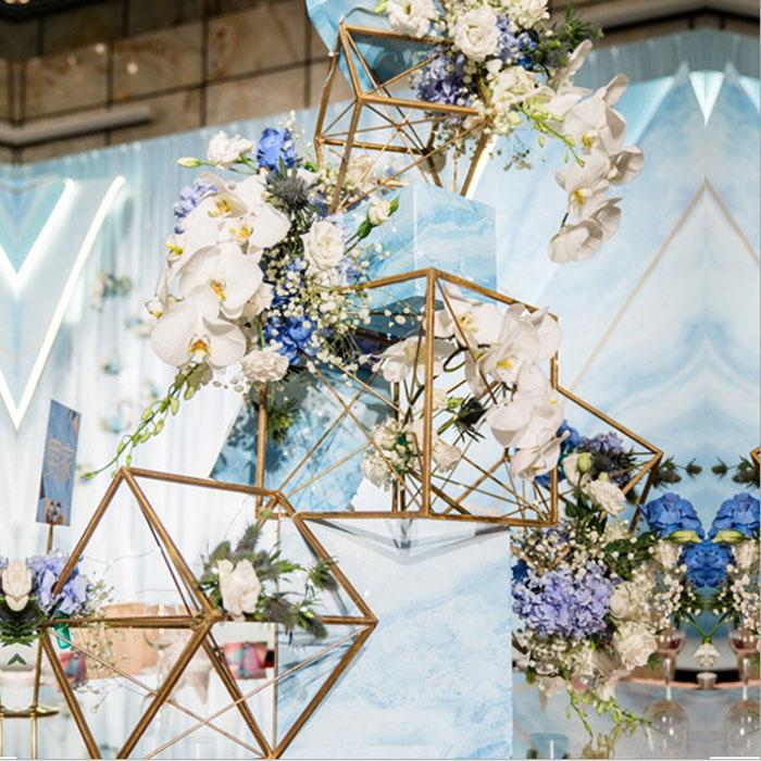 5 pcs / set wedding decoration square flower column stand Lead Metal shelf Wedding stage decoration display rack 3 colors install