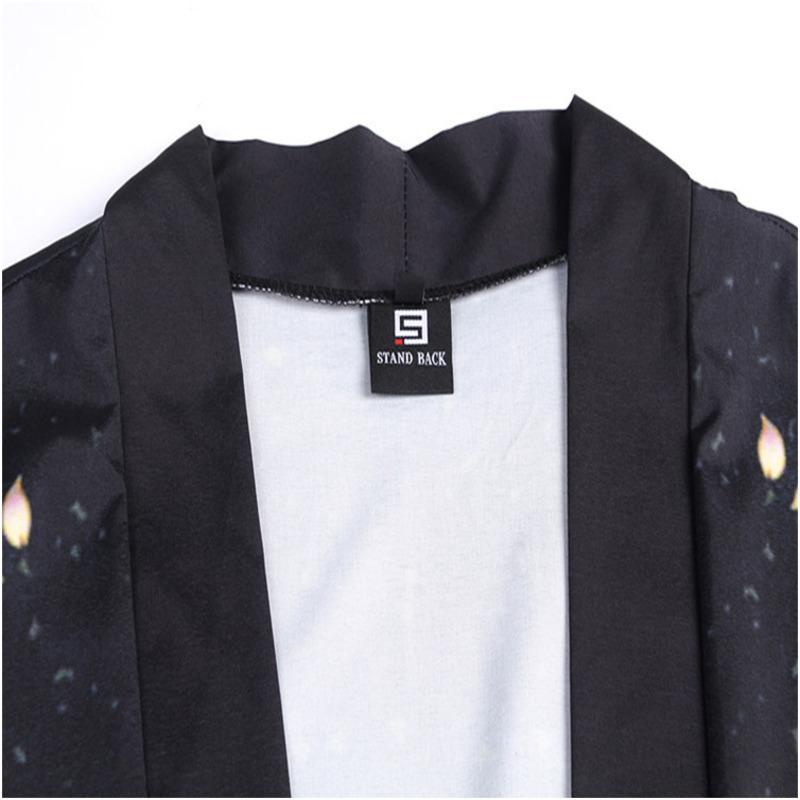 # 0273 Ouvrir point noir Kimono Shirt Homme Noir Ouvert point Homme shirt de qualité mode Plage shirt décontracté pour les hommes Streetwear