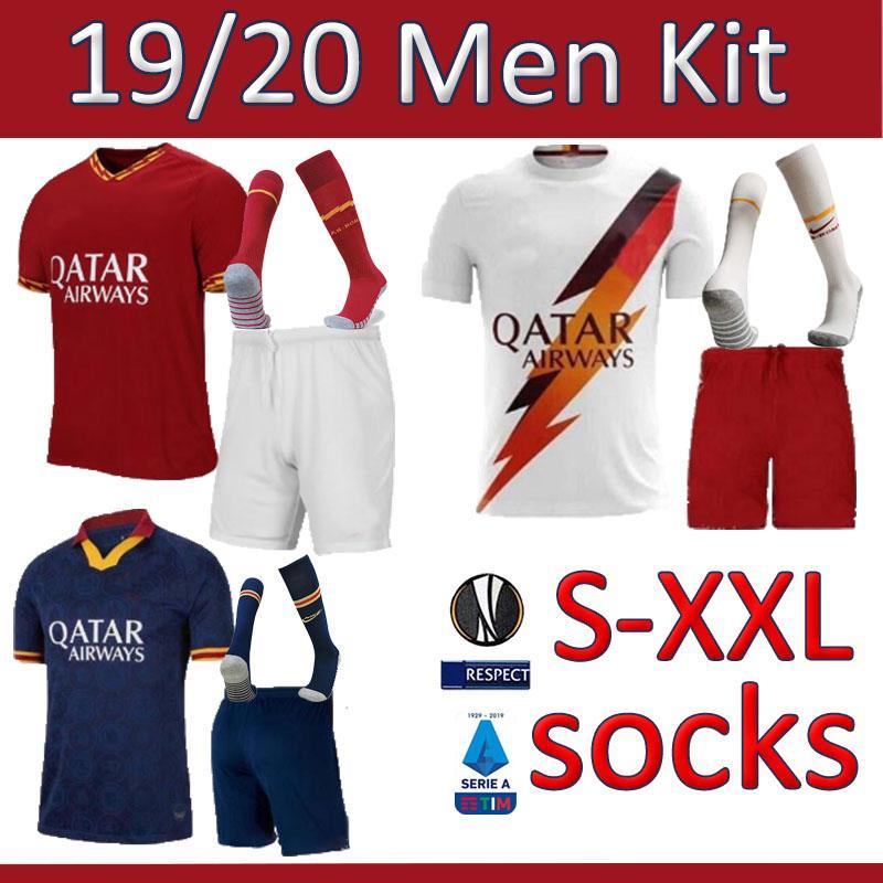 maillot de football hommes jersey roma chaussettes kits DZEKO PEROTTI Rome 2019 jersey TOTTI 19 20 kit de football chaussette kit hommes chemise comme maill