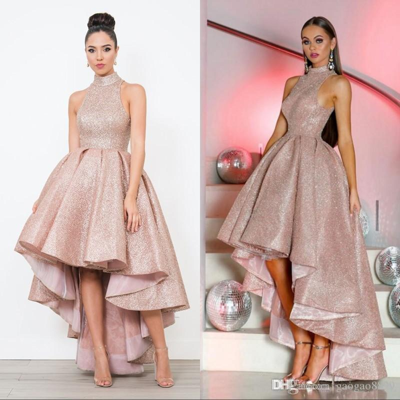 2019 Shining sparkly Arabic Prom Evening Dresses Sequins High Neck Ruffle High Low A Line Sleeveless Saudi Women ruched Party Gowns ogstuff