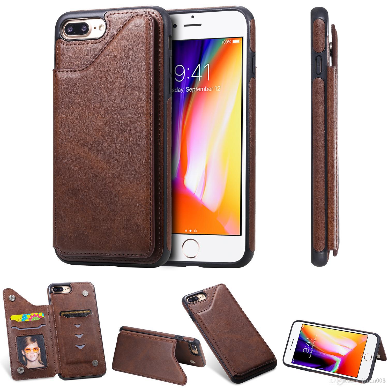 Saf renk Deri Cüzdan Kılıf iPhone 6 6S / 6 Plus / 6S Artı / 7 7 Artı / 8 8 Artı Darbeye Kart Yuvası Kickstand Telefon Arka Kapak