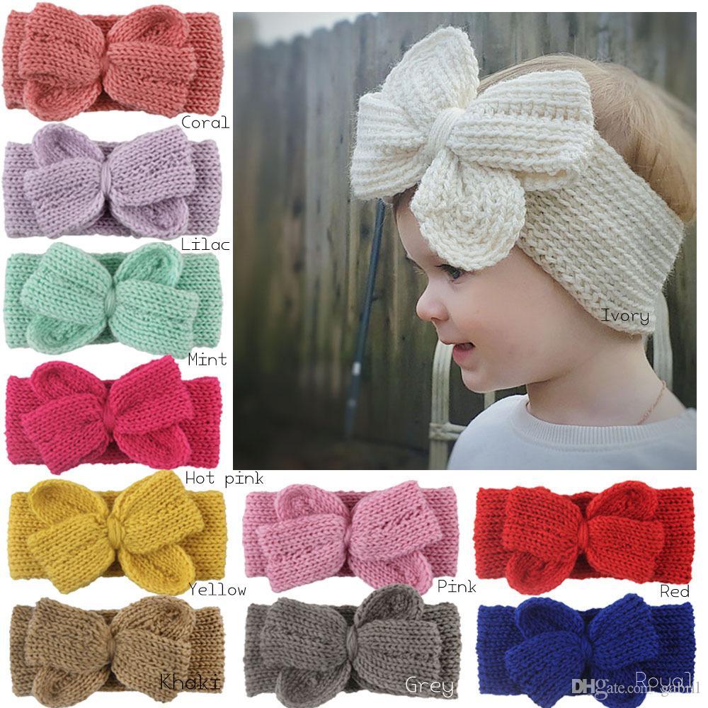 Crochet Knot Bow Headband Turban Knitted Winter Warm Hair Band Baby Girl Hair Accessory 11pcs/lot