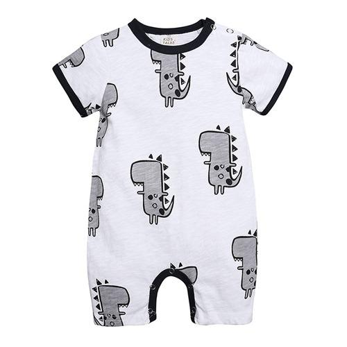 2019 summer unisex baby infant dinosaur rompers baby boys cotton bodysuits short sleeve one piece jumpsuits newborn onesies boutique clothes