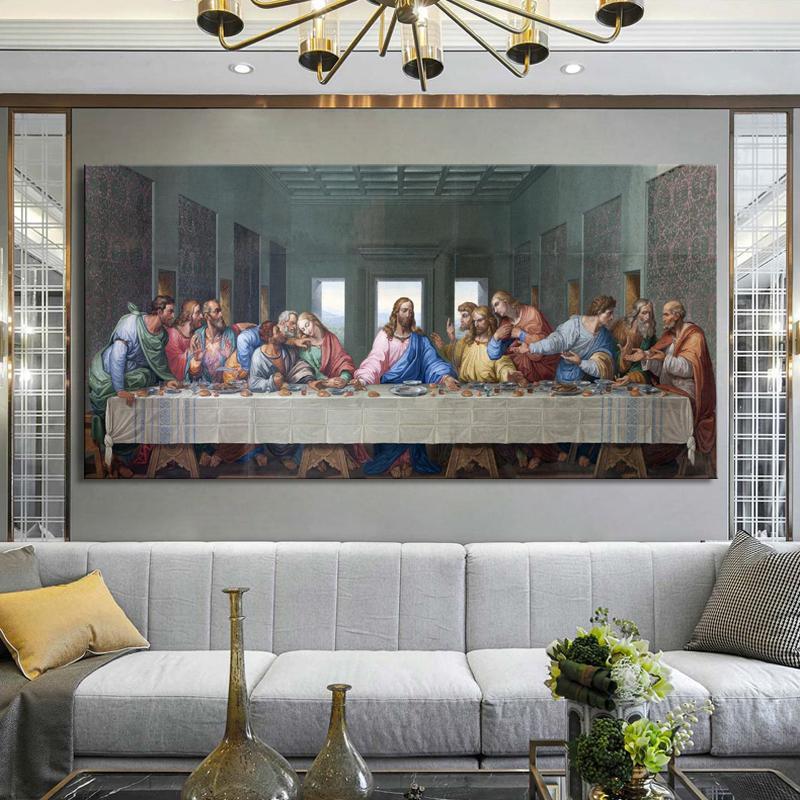 Leonardo Da Vinci L'ultima cena Poster e Stampa di arte della parete della tela di canapa pittura famoso dipinto L'arte per Living Room Decor Cuadros