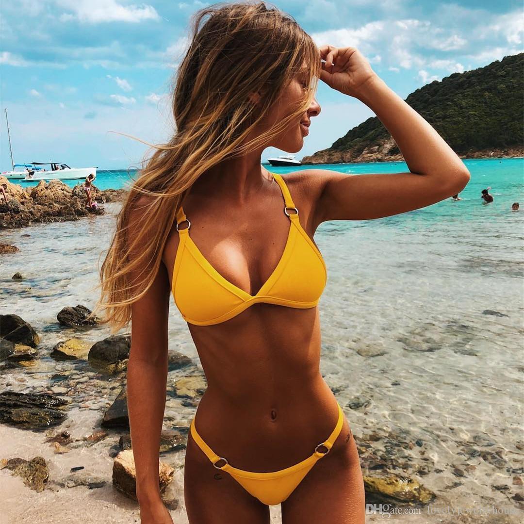 2019022601 bikini push up brezilyalı bikini set 2019 eğilim ayarlamak mayo kadın katı halter üst mayo yaz kadın mikro mayo