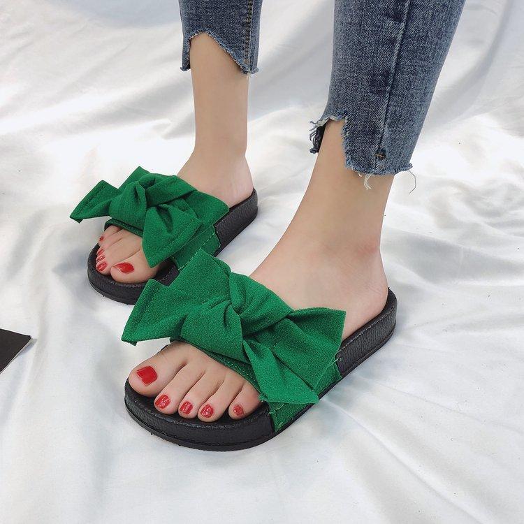 Suihyung 2020 новые женские тапочки дышащие льняные тапочки с большим бантом-узлом повседневная домашняя плоская Горка нескользящая крытая обувь квартиры