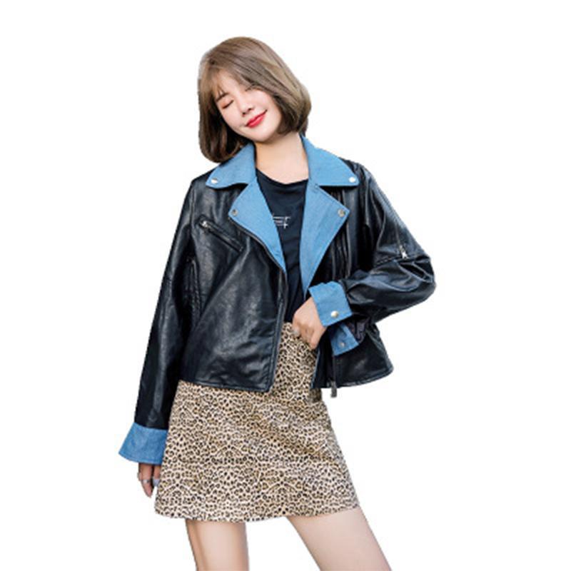 jacketautumn couro moda e inverno senhoras Rua das mulheres curto solta costura denim gola pu couro da motocicleta jaqueta