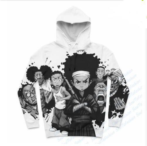 Nueva moda Harajuku estilo Casual impresión 3D Hoodies Boondocks hombres / mujeres otoño e invierno sudadera Hoodies BC084