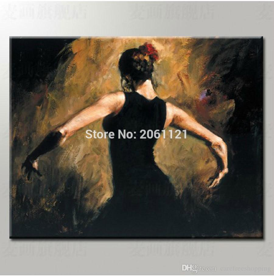 Handmade figure paintings home wall art black canvas painting dancing lady woman fabric paintings decoration canvas paintings
