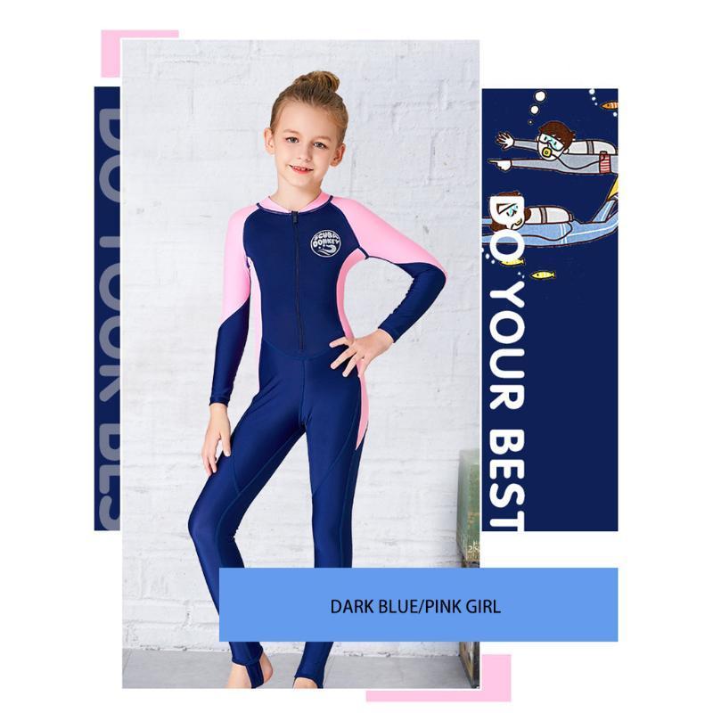 Тренд гидрокостюм для детей плюс Размер новый детский солнцезащитный купальник с длинными рукавами кусок девушки водолазный костюм быстросохнущий серфинг #F