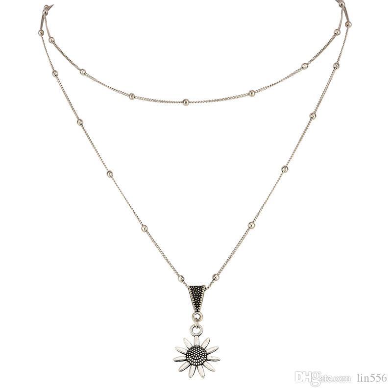 Vendita calda Girasole Donne multistrato pendente 1PC regalo Boho di alta qualità bello d'argento sexy regolabile partito unico