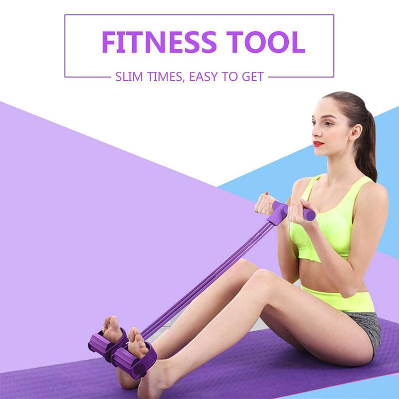 STOK Spor Gum 4 Tüp Direnç Gruplar Çekme Halat Genişletici Elastik Bantlar Yoga ekipmanları pilates l FY7009 kadar Egzersiz Sit Pedal lateks