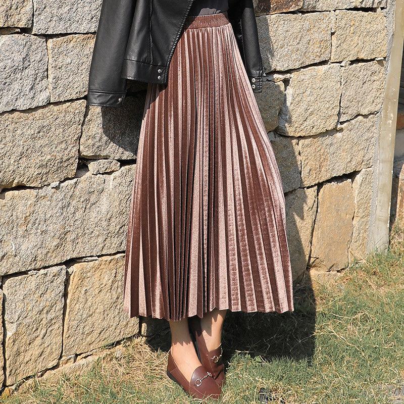 الذهب المخملية تنورة طويلة النساء خريف شتاء 2020 الكورية مطوي عالية الخصر عارضة فضفاض سيدة مكتب الملابس القيعان حجم كبير