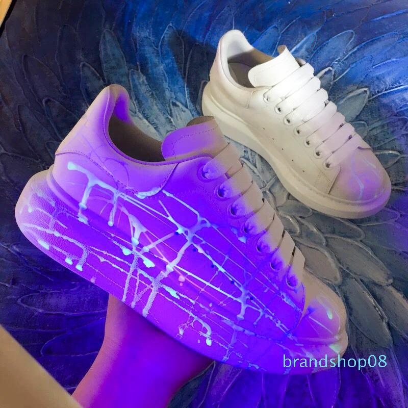 Luxe Designer Femmes Hommes Reflective Souliers d'Souliers formels d'homme plateforme Designer Shoe cuir lacées mariage quotidien Sneaker 35-46