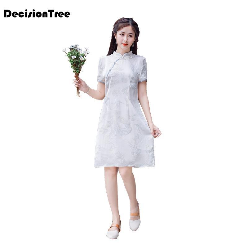 2020 китайского платье классических женщин QiPao восточных высокое платья сексуального перерезала китайский Cheongsam традиционным