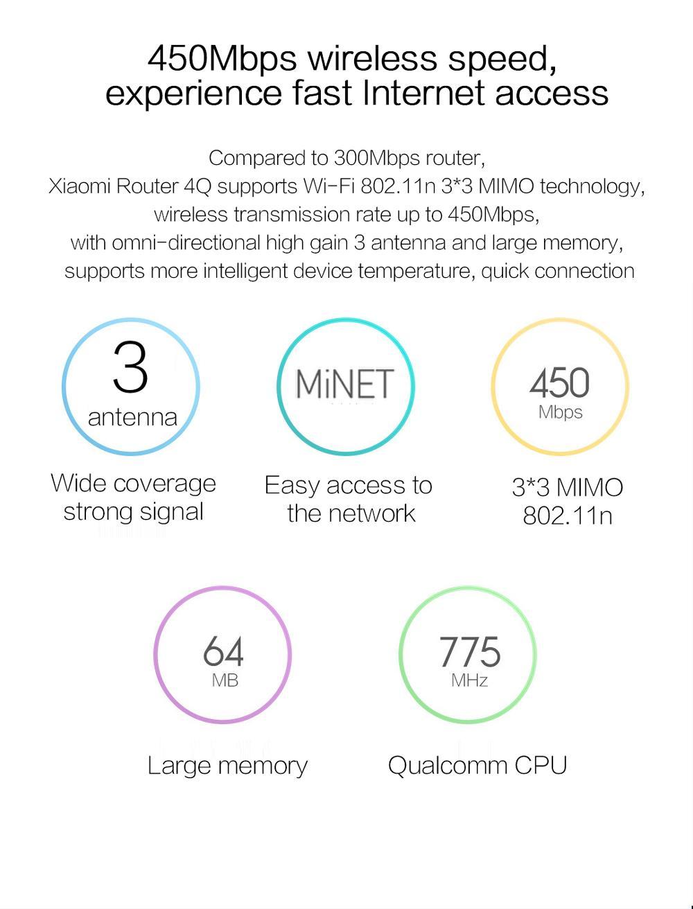New Original Xiaomi Mi Router 4Q 3 Antennas Blue Wireless 2.4G 802.11bgn 450Mbps APP Control 64M ROMRAM Wifi Wireless Routers-7