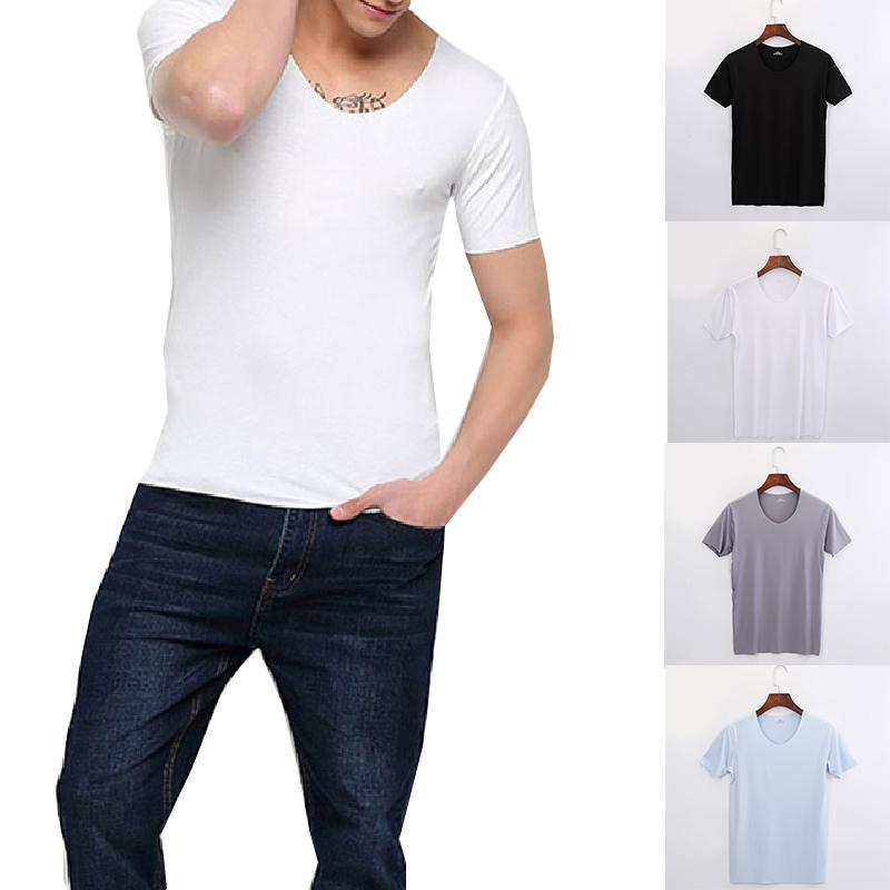 Короткие рукава футболки мужчин Повседневный Rayon V-образным вырезом Solid Футболка Ice шелк Тонкие летние одежды Упругие Мужской Прохладный Толстовка одежды