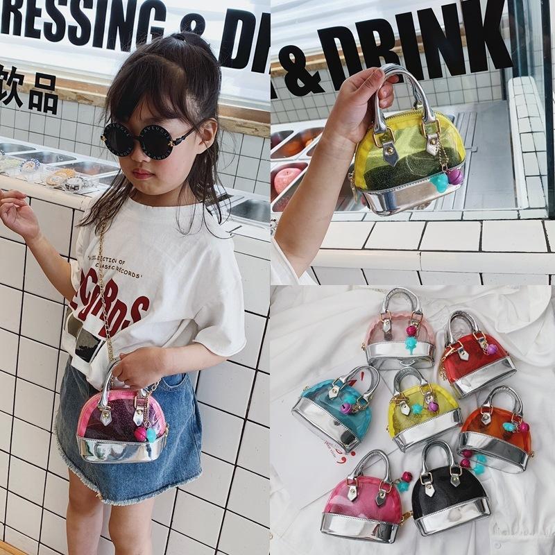 7colors Sac enfants épaule transparent bonbons couleur PVC Sacs à main Mode Enfant Mini Priness Sacs à main Snacks PU monnaie Sacs GGA3543
