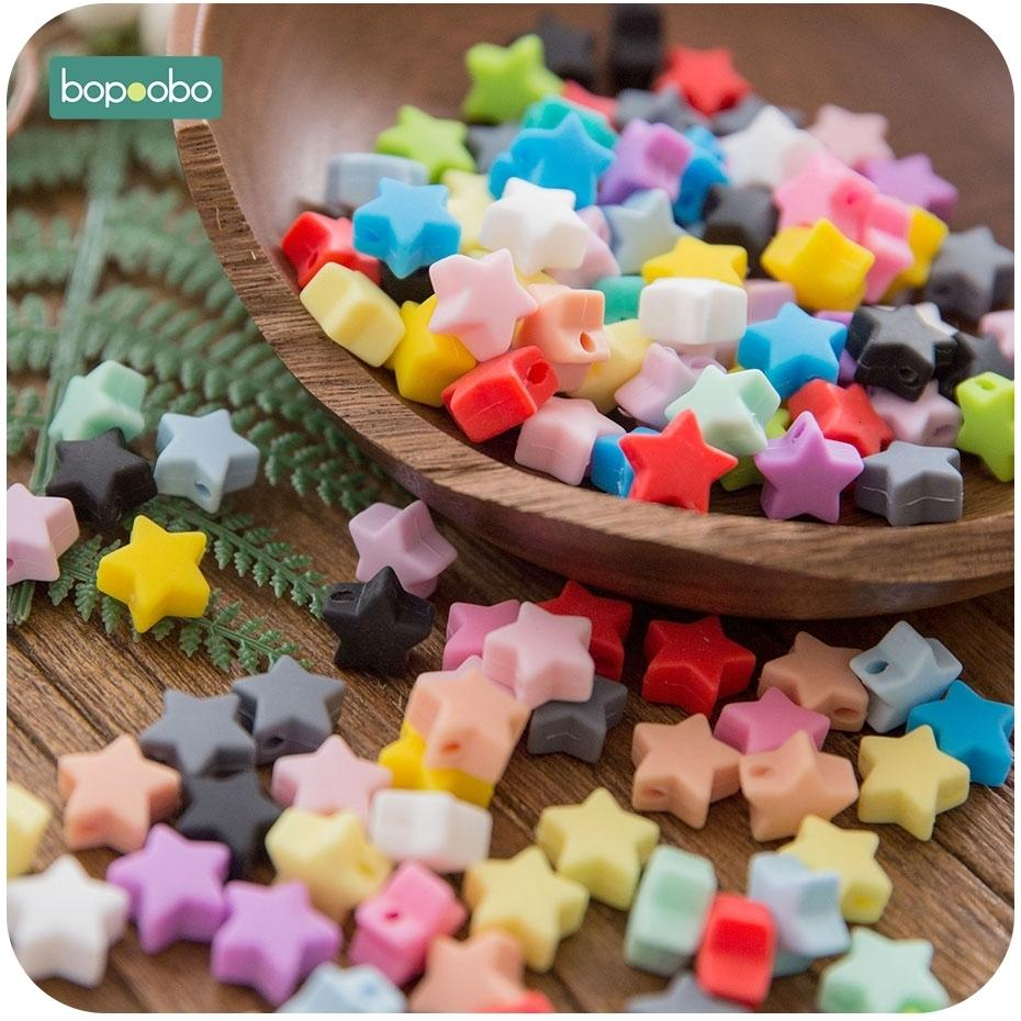 Bopoobo 10pcs Silicone Beads Food Grade Silicone Star Teether Baby Products Silicone Rodent Bracelet Diy Crafts Baby Teether SH190916