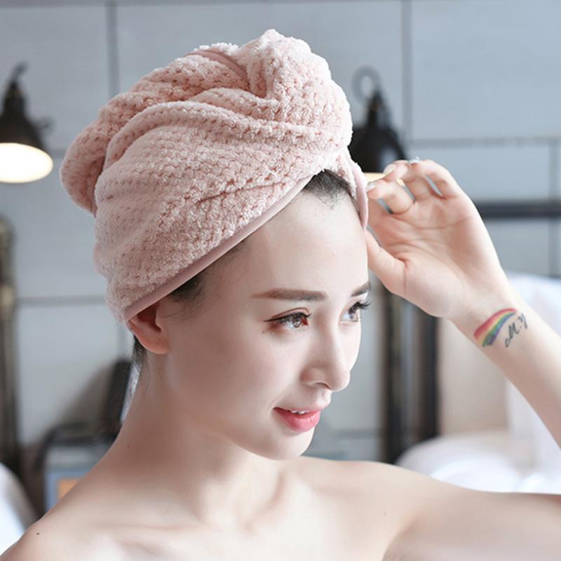 Magia de microfibra de pelo de alta calidad de secado rápido Secador toallas de baño Ducha Wrap Cap Sombrero rápida turbante toalla seca 3 Estilos