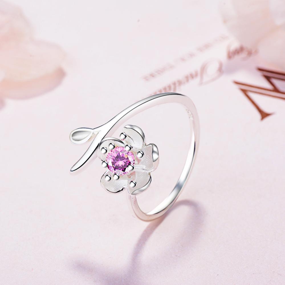 Yeni Gelenler 925 Ayar Gümüş Kiraz Çiçekleri Çiçek Yüzük Kadınlar için Ayarlanabilir Boyutu Yüzük Moda ayar-gümüş-takı