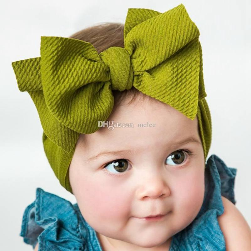 Fashion Striped Baby Head Band Golden Bow Elastic Kids Hairband Accessories