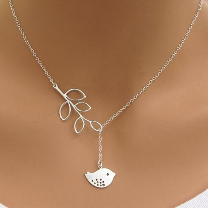 GHRQX الساخن بيع الفضة قلادة قلادة الطيور ورقة اللؤلؤ الأزياء والمجوهرات بالجملة