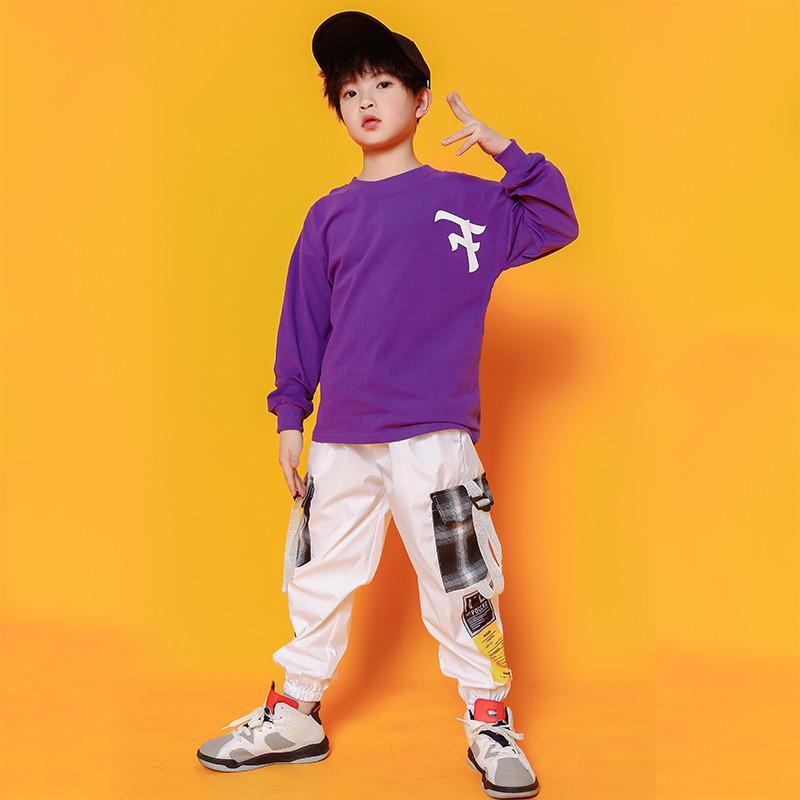 Hop Trajes meninos Hip roxo camiseta Moda de dança de salão traje meninas Jazz roupa solta calças Dancewear para Crianças