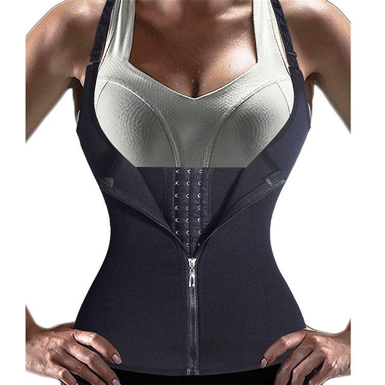 Women Waist Trainer Corset Zipper Vest Body Shaper Tank Top with Adjustable Straps