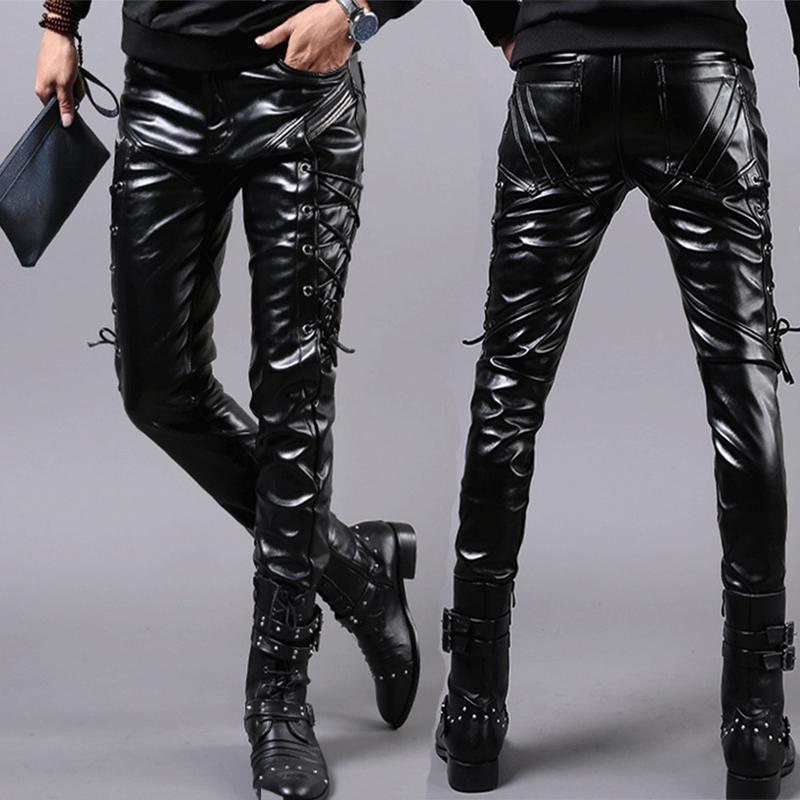 New Men/'s Casual Trousers Fashion Locomotive Pants Black Pu Leather Boots Pants