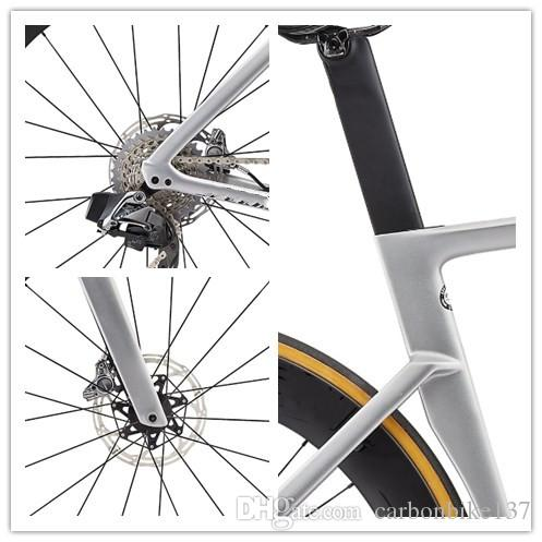 High quality road bike carbon frame glossy metallic white silver coating 700c frameset Includes handlebar stem fast delivery