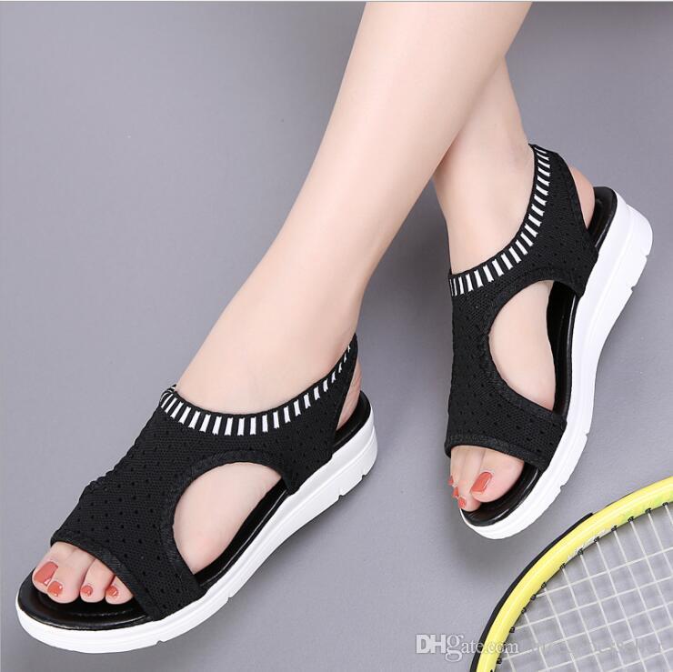 Sandalias de verano para mujeres 2019 transpirables y cómodos para mujer zapatos para caminar plataforma gladiador sandalias zapatos de cuña baja ocasionales ADF-8717