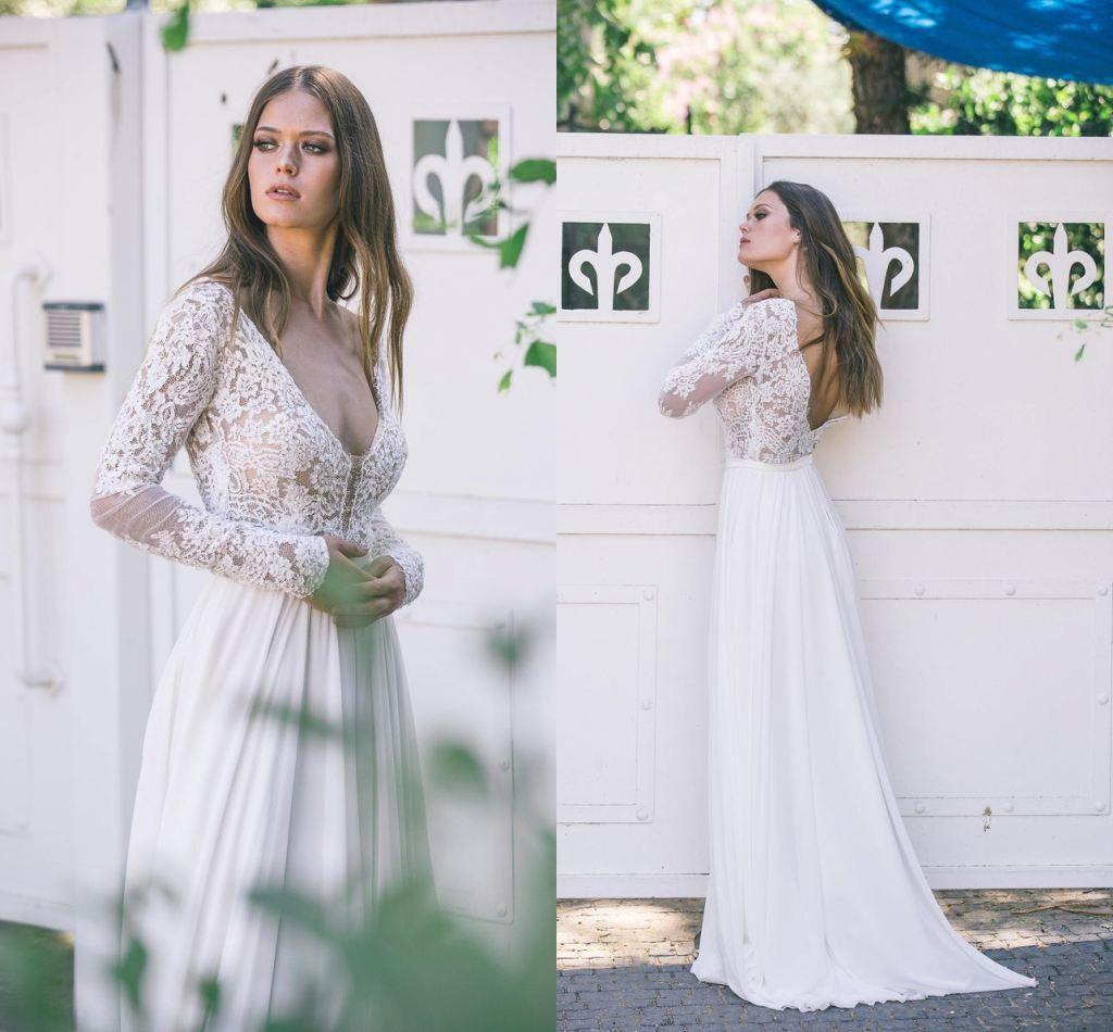 섹시한 오픈 백 레이스 긴 소매 국가 보헤미안 웨딩 드레스 저렴한 Vinatge Deep V Necl 레이스 Top Chiffon Beach Boho Bridal Gown Plus 크기