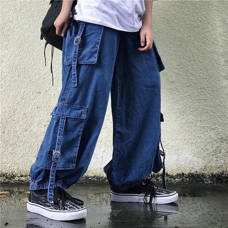 BANNAJI `s Women`s Harajuku Carto Jeans soltas Fit multi Pockets Hip Fashion Street estilo japonês Hop Jeans Baggy