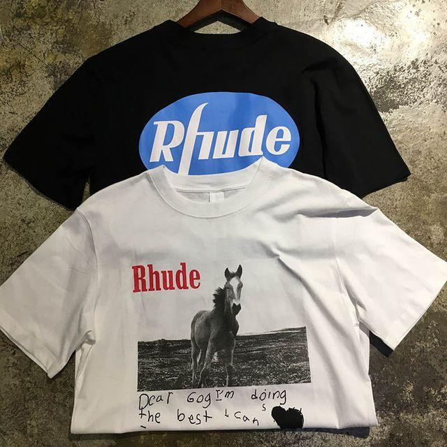 2019 Rhude T-shirts de haute qualité Cher Gog meilleur Rhude TopTees Mode Casual Hommes Coton Femmes impression Cheval Noir Blanc Rhude T-shirt