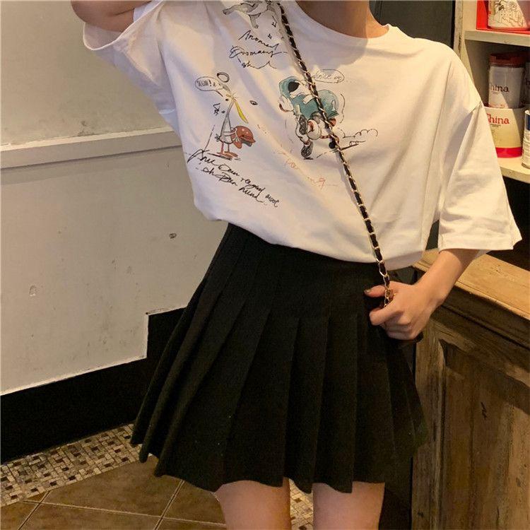 2019 le donne di New Estate girocollo stampato il fumetto maglietta casuale Moda Bella Bianco Giallo Rosa Cotone