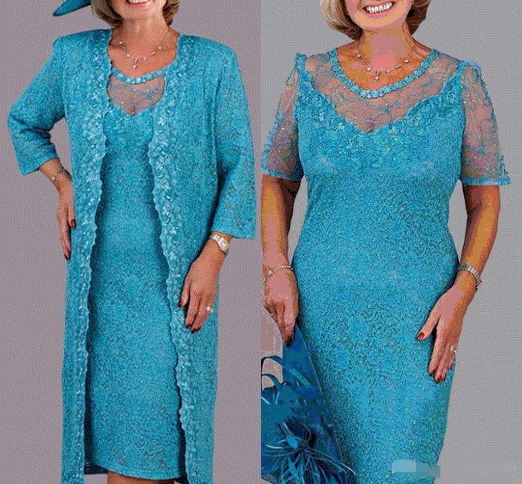 Élégante dentelle mère de la mariée robes de mariée avec veste 3/4 manches longues bijou cède col formelle robe de soirée genou longueur de mariage robes d'invité