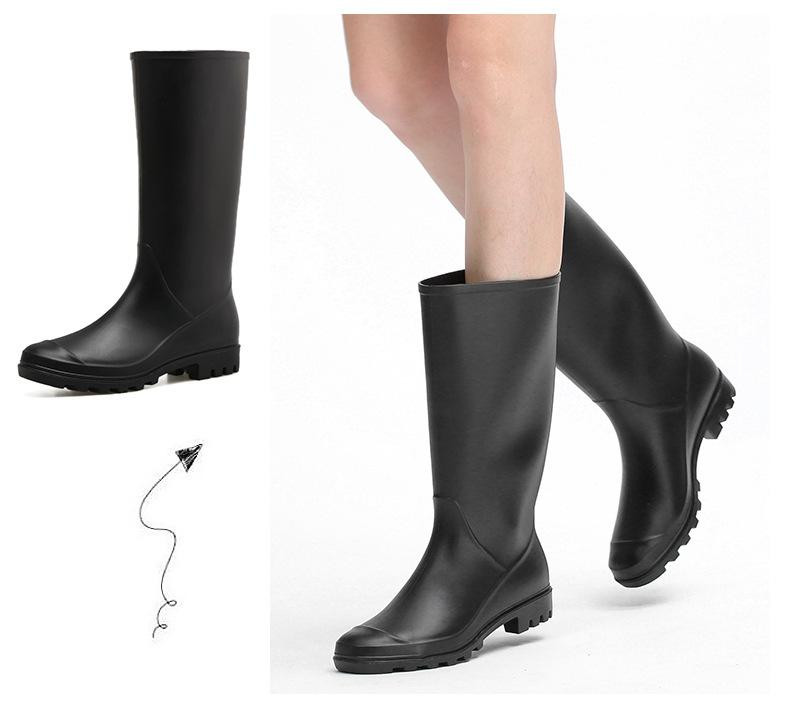Rain boots women's high tube fashion rain shoes adult thick-soled rubber waterproof shoes long barrel anti-slip sleeve shoes