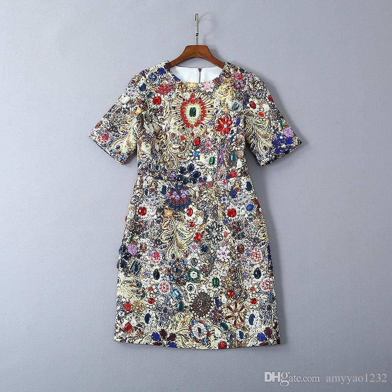 620 2019 envío libre del verano vestido de la pista vestido de la impresión de la flora imperio Cuello redondo por encima de la rodilla de manga corta Lujo Beads Prom vestido de moda SH