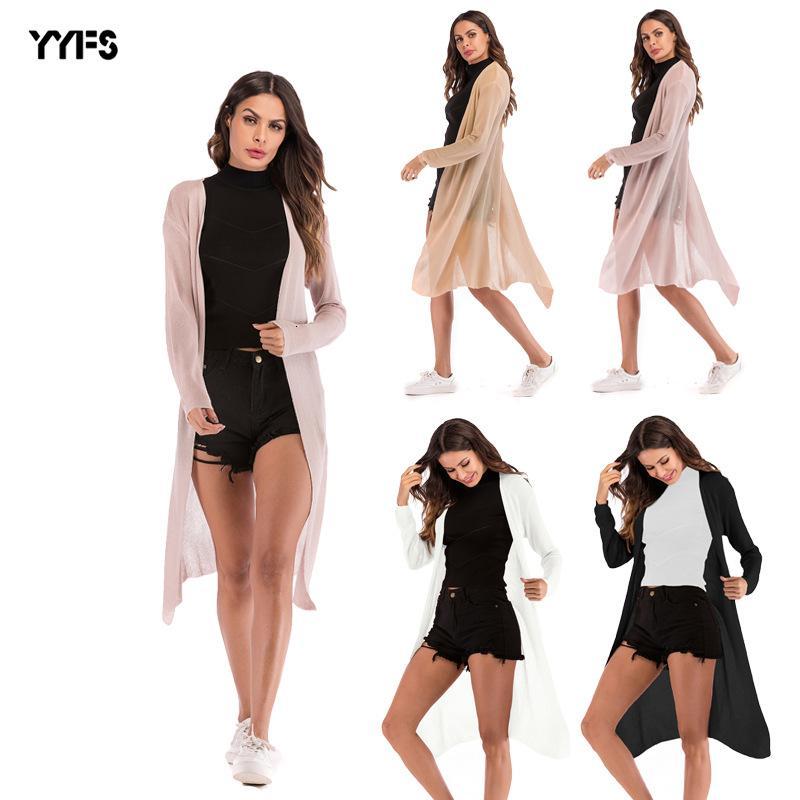 Kadın Perspektif İnce Bölüm Örgü Hırka Saf Renk Uzun Kollu Şal Gevşek Coat giyin