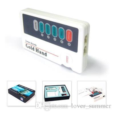 LOW FREQ Gold hand massage mini massager with 4 pads tens MACHINE عنق الرحم الجسم مدلك مصغرة آلة التدليك