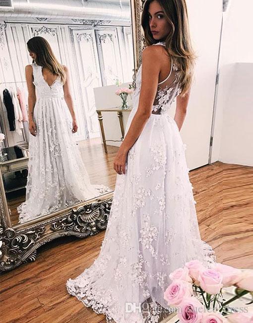 2019 빈티지 V 목 A- 라인 웨딩 드레스 레이스 Appliue 라인 석 회상 다시 플러스 크기 맞춤 된 비치 웨딩 드레스