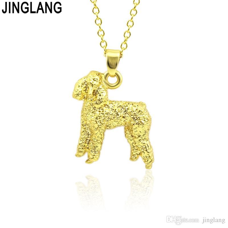 JINGLANG Fashion Dog Charm Vintage lady Animal CollanePendants Design semplice Wedding Party of Korea Jewelry Regalo per ragazze