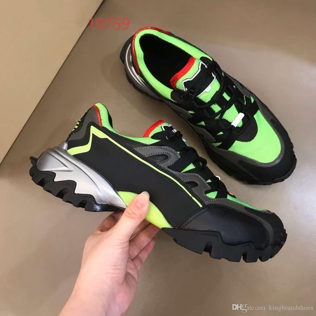 2019 été nouvelles chaussures de sport en plein air des hommes en noir et vert maille hommes occasionnels fond épais en cuir véritable respirant chaussures