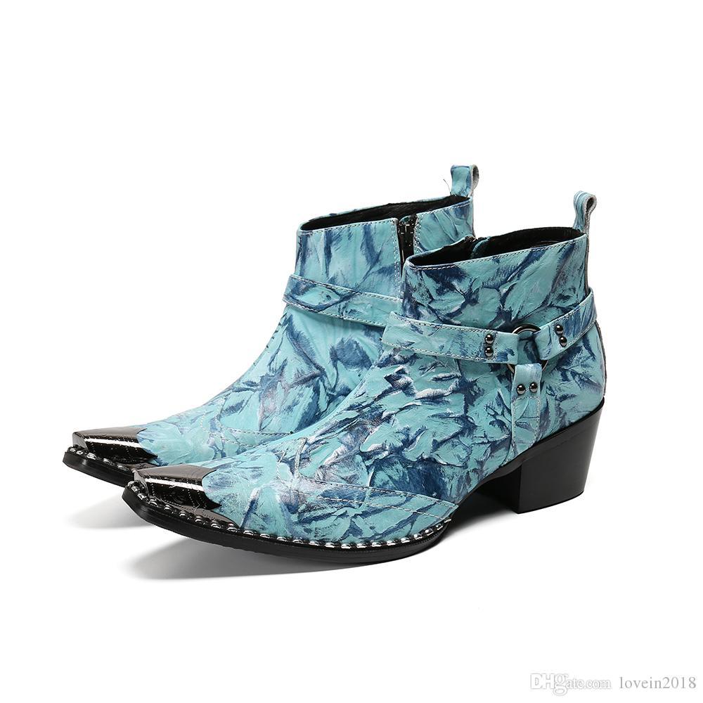 Новая мода Повседневная Мужчины Пром ботинки ковбоя мотоцикла Глава Железный Ботильоны Реальный кожаный ремешок молния Мужчины ботинки