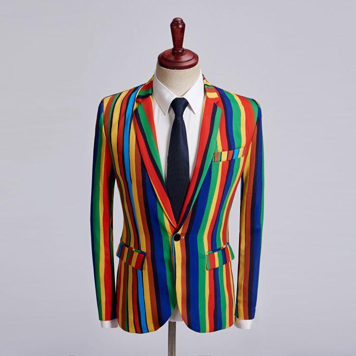 Erkek Takım Elbise Blazers Çizgili Blazer Erkek Slim Fit Masculino Iş Rahat Şık İlkbahar Sonbahar Kostümleri Kişilik Ana Bilgisayar